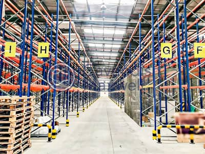 Warehouse for Rent in Jebel Ali, Dubai - Partially Racked Warehouse | 200 kW Power