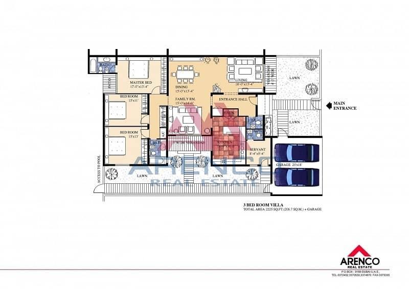13 PRIVATE GARDEN - 3 BEDROOM Single Storey Villa-NO COMMISSION