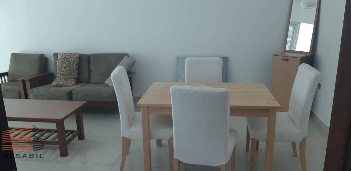 one bedroom furnished  AC free for rent in marina pinnacle tower