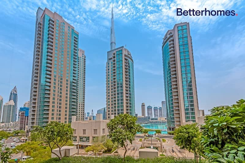 Large One Bed + Study | Partial Fountain & Burj view