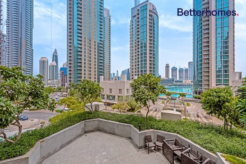 13 Large One Bed + Study | Partial Fountain & Burj view