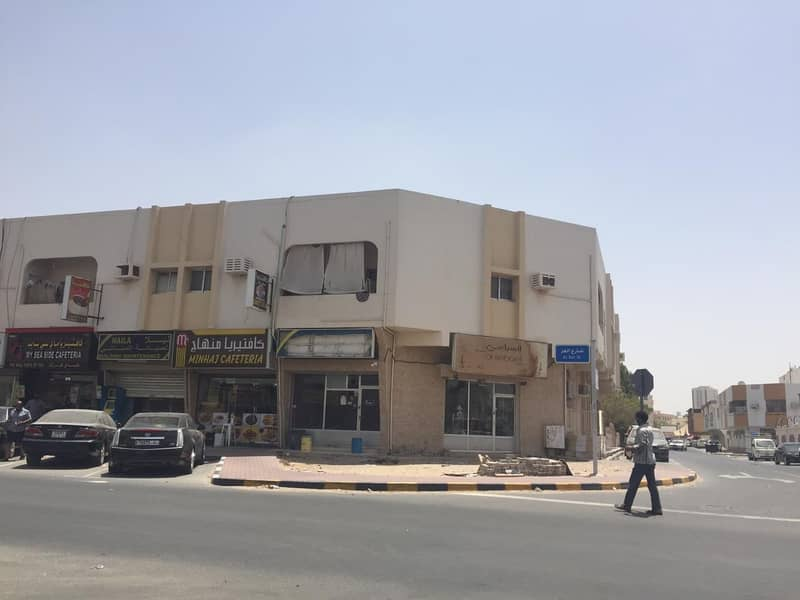 For sale a residential and commercial building in Ajman, Al Nuaimia area (ground and first), a very excellent location, an area of 10 thousand feet