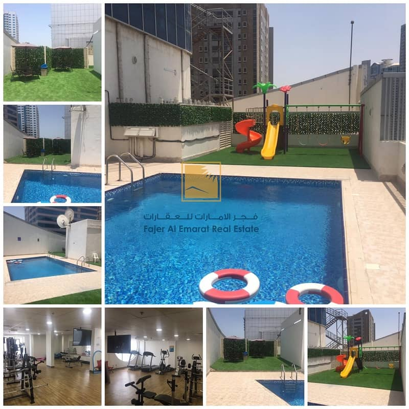 17 For Rent in Sharjah AL Qasbaa Area Two Bedroom With Parking
