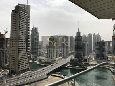 1 Bedroom Apartment for Rent in Dubai Marina, Dubai - SPACIOUS LARGE 1 B/R+HALL HIGH FLOOR MARINA VIEW
