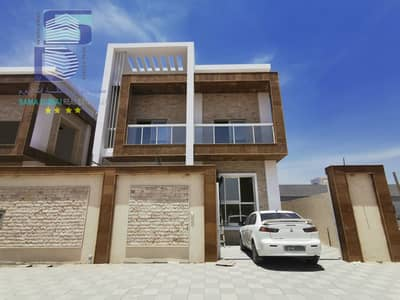 5 Bedroom Villa for Sale in Al Yasmeen, Ajman - New villa for sale on main street, finishing, super deluxe, central AC, stone face