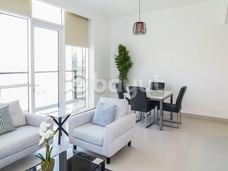 2 Canal & Burj View | Semi-Furnished Flat in Business Bay