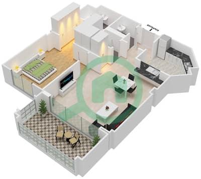 Al Khudrawi - 1 Bedroom Apartment Type B Floor plan