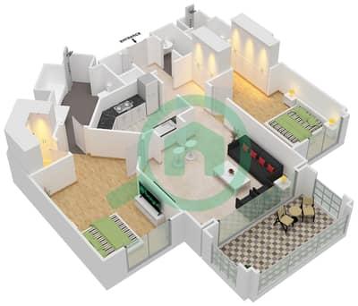 Al Khudrawi - 2 Bedroom Apartment Type D Floor plan
