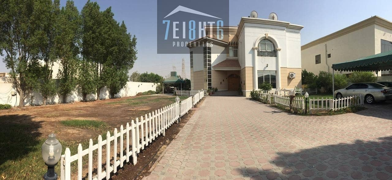 Outstanding property: 5 b/r good quality independent villa + maids room + large stunning garden for rent in Nad Al Hamma