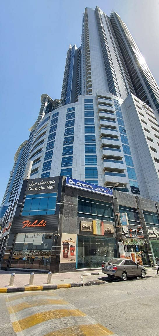 Best Offer Fully furnished 2-Bedroom for sale | Partial sea view | 3 bathroom | in Corniche Tower Ajman