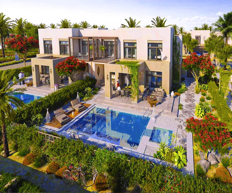 Villa For Sale in a nature reserve on the most beautiful coasts of the emirates in Abu Dhabi with 8 years installments