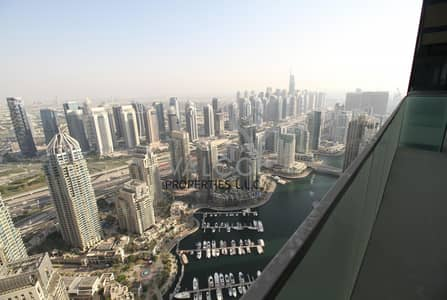 2 Bedroom Apartment for Rent in Dubai Marina, Dubai - Unfurnished 2BR | Full Marina View | High Floor
