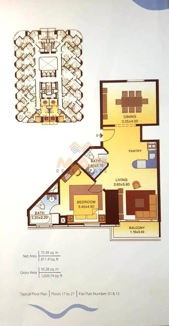 12 2bhk on high floor with balcony close to metro