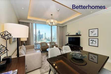 1 Bedroom Hotel Apartment for Rent in Downtown Dubai, Dubai - full fountains view/fully serviced/ middle unit