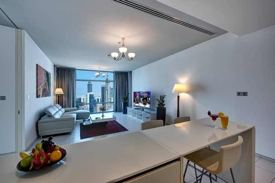 Stunning Burj Khalifa New Year Fire Works at close proximityOne Bedroom fully furnished fully serviced Apartment in DIFC