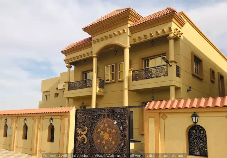 For sale villa in Ajman, classic design, corner of two streets, without down payment or any commission for the real estate broker, with the possibility of freehold ownership for life for all nationalities