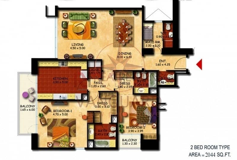 17 LARGEST 2 Bedroom with Maid  in cluster U jlt