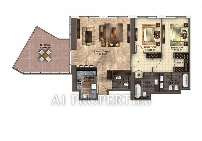 20 Spacious 2 Bedroom with Terrace in DIFC