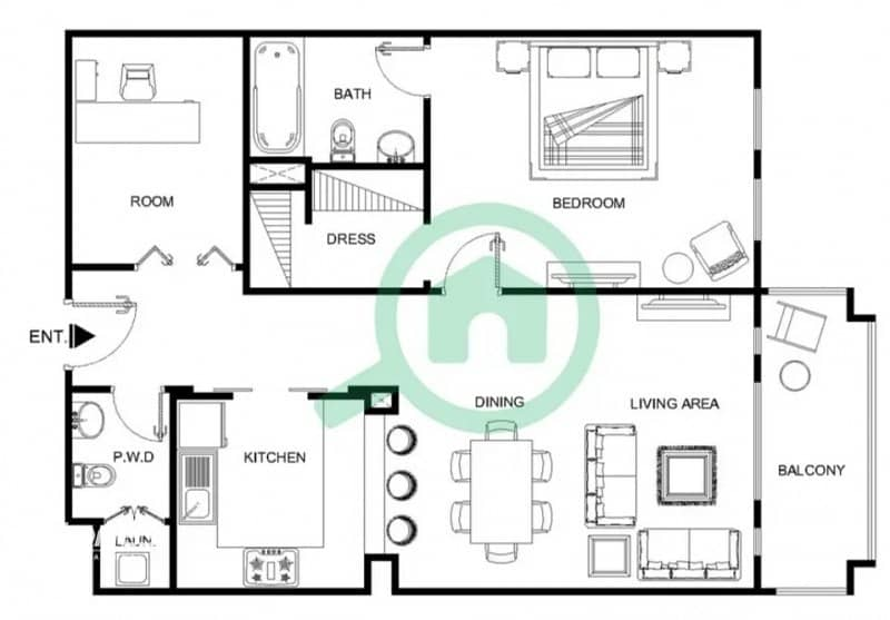 19 Natural Lit and Spacious with Study | City View