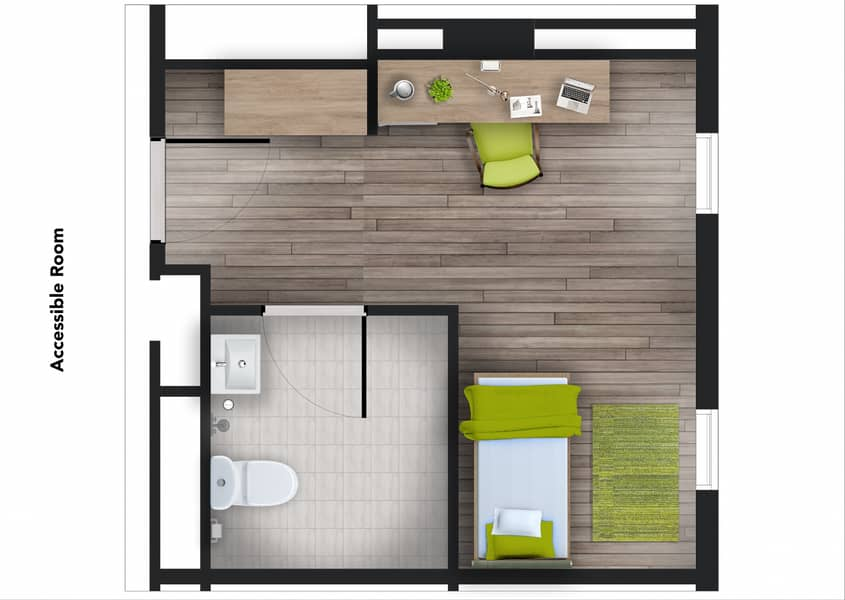 2 Student Accommodation | Accessible Room - Male Block | The Myriad Dubai