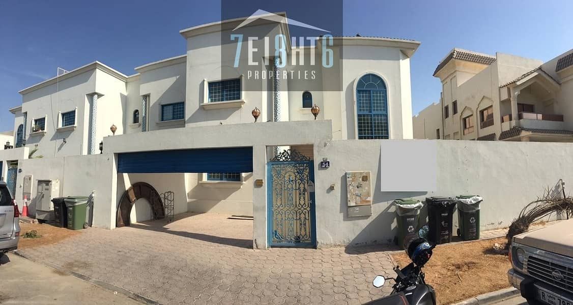 Amazing value: 5 b/r good quality semi-indep villa + maids room + large landscaped garden for rent in  Al Safa 2