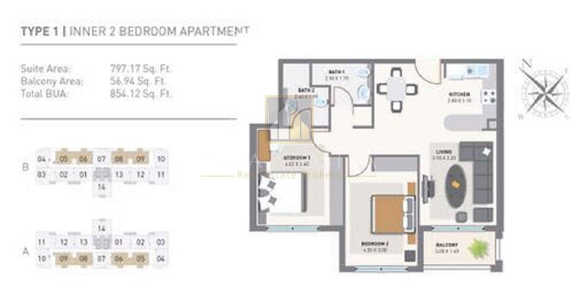 15 Hot Deal Cheapest 2BR with Balconies Chiller fee