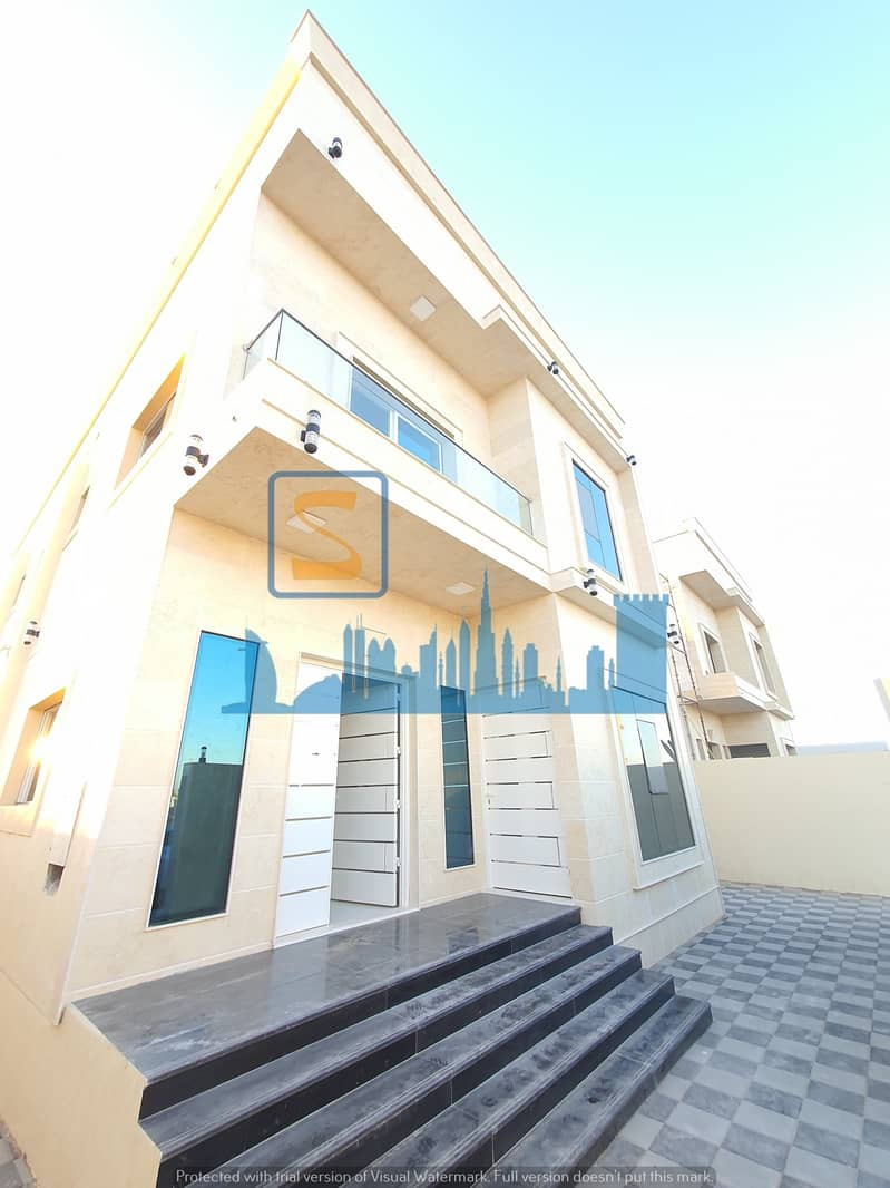 Stone villa for sale directly on the asphalt street with central air conditioning at an attractive price in the Al-Ittihad district