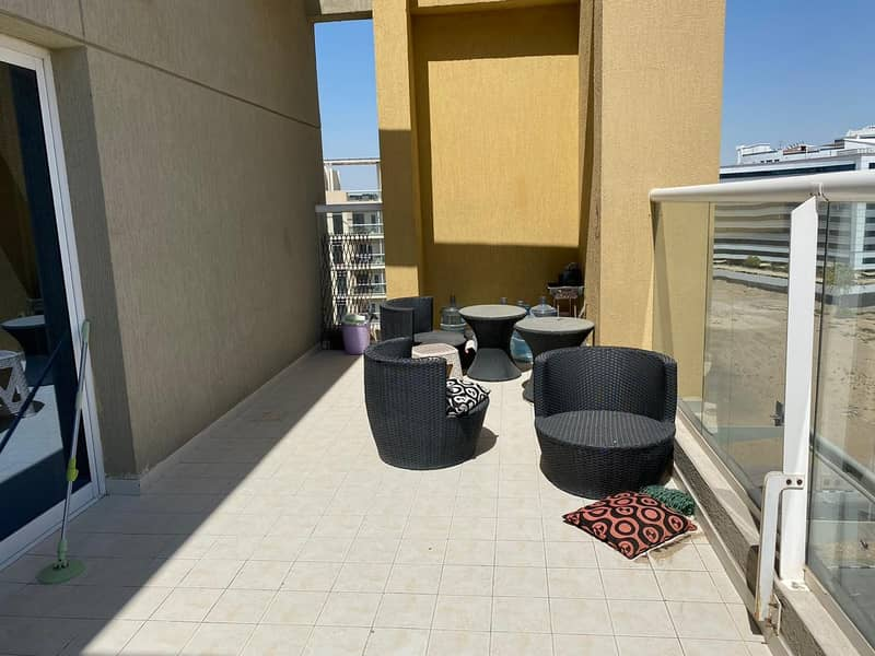 Large 2 Bedroom close kitchen Huge terrace  silicon oasis