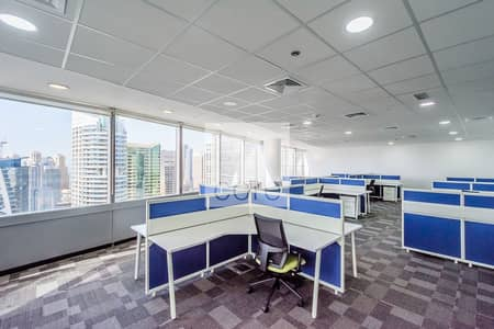 Office for Rent in Jumeirah Lake Towers (JLT), Dubai - Fitted Office | High Floor | Lake Views