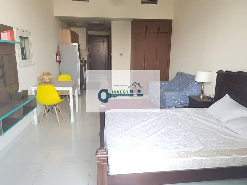 HUGE FULLY FURNISHED STUDIO : READY TO MOVE : 22K IN 4 CHEQ....