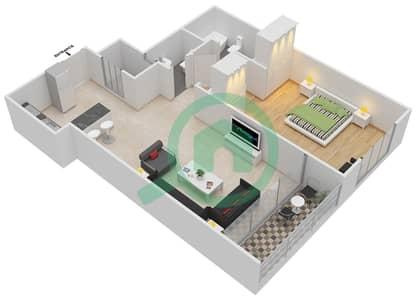 المخططات الطابقية لتصميم النموذج B شقة 1 غرفة نوم - الوليد بارادايس