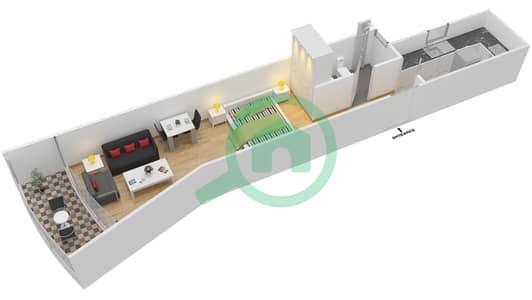 المخططات الطابقية لتصميم النموذج C شقة  - الوليد بارادايس
