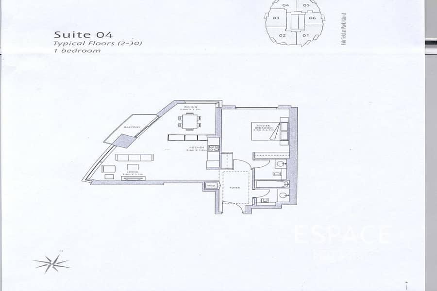 10 Vacant | 1 Bed | Marina View | 909 Sq.ft