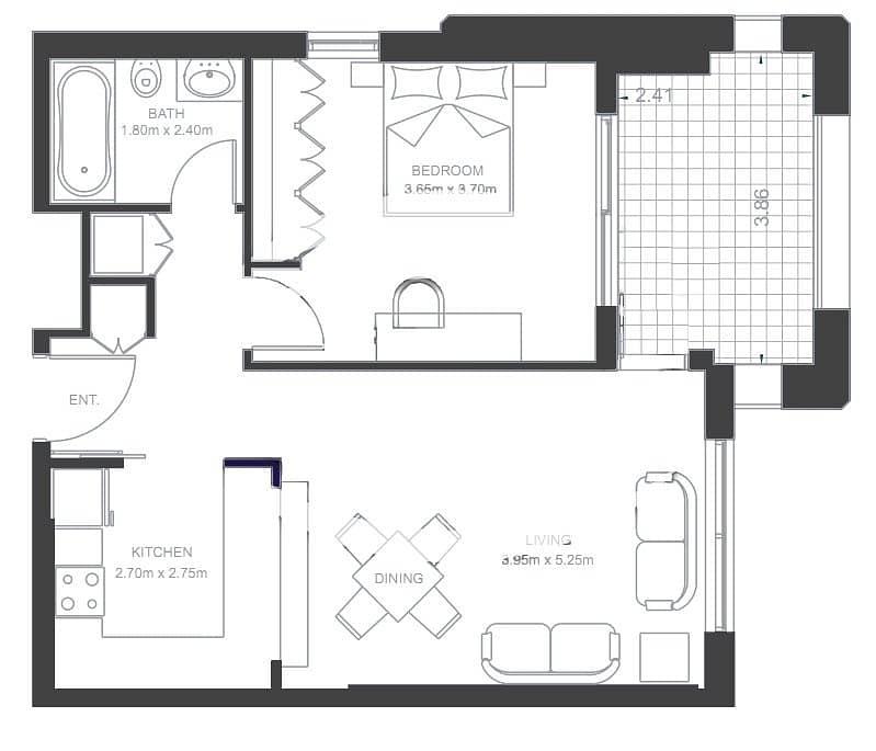 10 Exclusive  | 1 Bedroom Apartment  | Vacant