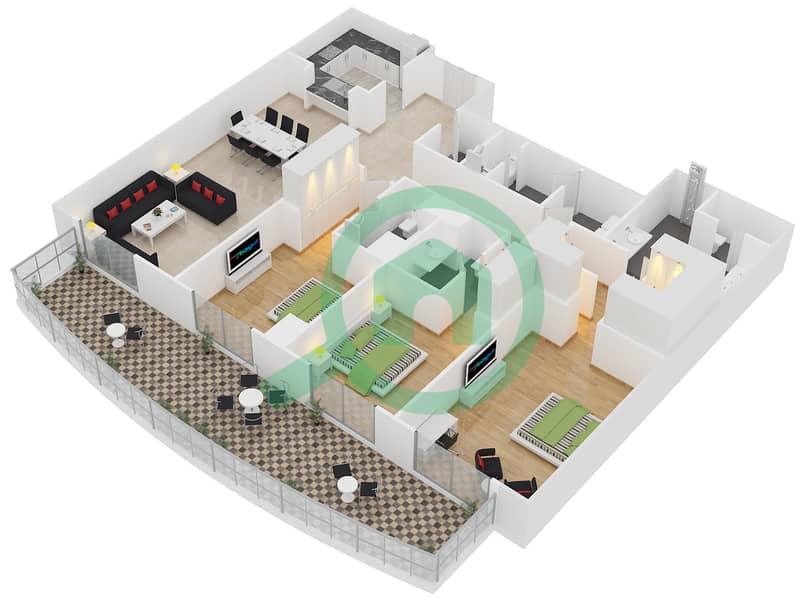 المخططات الطابقية لتصميم النموذج A شقة 3 غرف نوم - برج لاجونا موفنبيك interactive3D