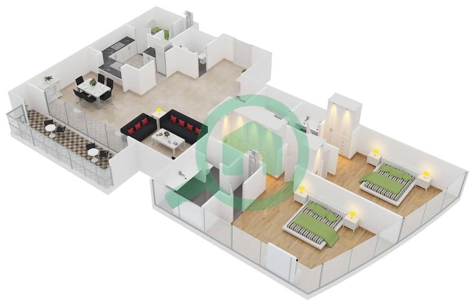 المخططات الطابقية لتصميم النموذج B شقة 2 غرفة نوم - برج لاجونا موفنبيك interactive3D