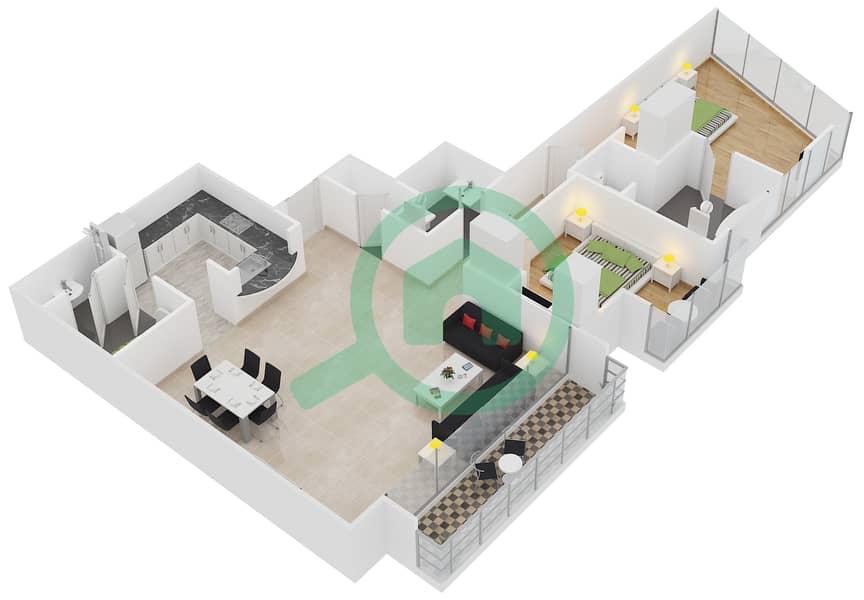 المخططات الطابقية لتصميم النموذج C شقة 2 غرفة نوم - برج لاجونا موفنبيك interactive3D