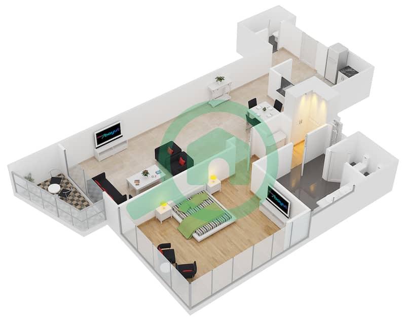 المخططات الطابقية لتصميم النموذج E شقة 1 غرفة نوم - برج لاجونا موفنبيك interactive3D
