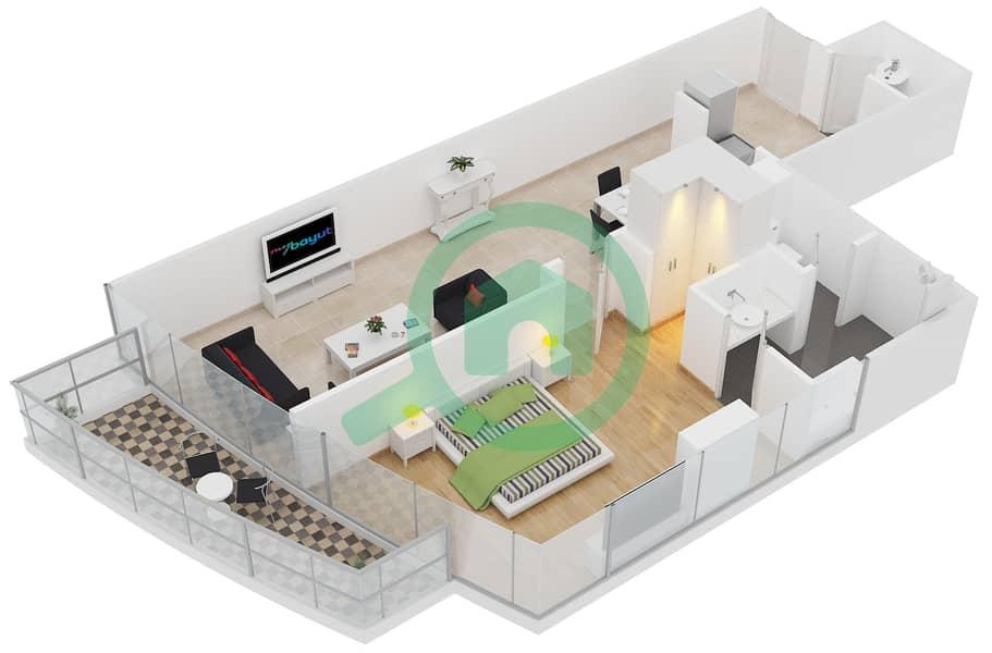 المخططات الطابقية لتصميم النموذج E1 شقة 1 غرفة نوم - برج لاجونا موفنبيك interactive3D