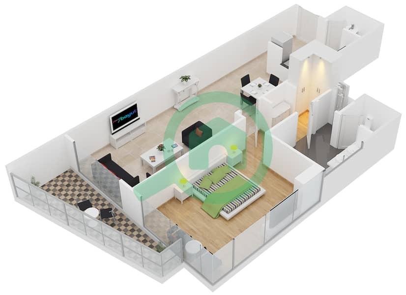 المخططات الطابقية لتصميم النموذج E2 شقة 1 غرفة نوم - برج لاجونا موفنبيك interactive3D