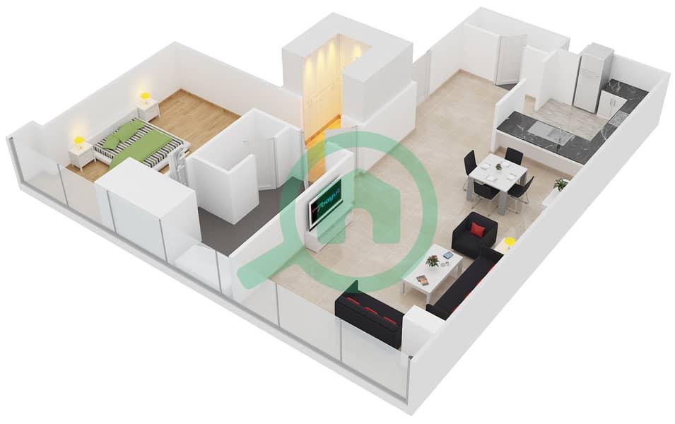 المخططات الطابقية لتصميم النموذج F شقة 1 غرفة نوم - برج لاجونا موفنبيك interactive3D