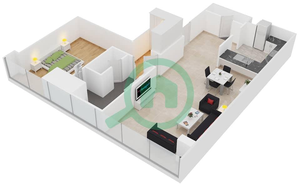 المخططات الطابقية لتصميم النموذج F1 شقة 1 غرفة نوم - برج لاجونا موفنبيك interactive3D