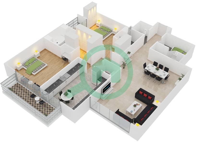 المخططات الطابقية لتصميم النموذج A شقة 2 غرفة نوم - برج تمویل interactive3D