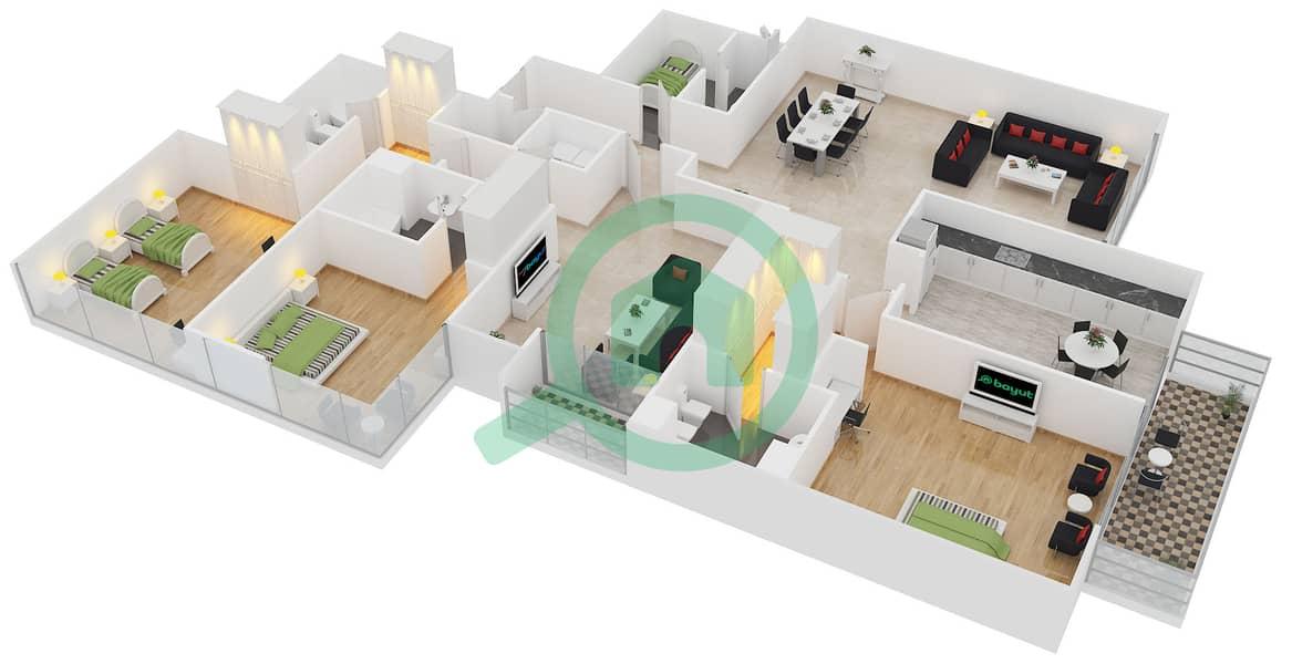 المخططات الطابقية لتصميم النموذج C شقة 3 غرف نوم - برج تمویل interactive3D