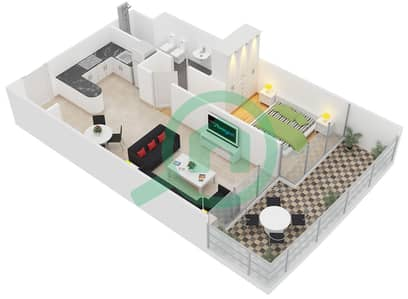 المخططات الطابقية لتصميم النموذج A شقة 1 غرفة نوم - ليك تراس