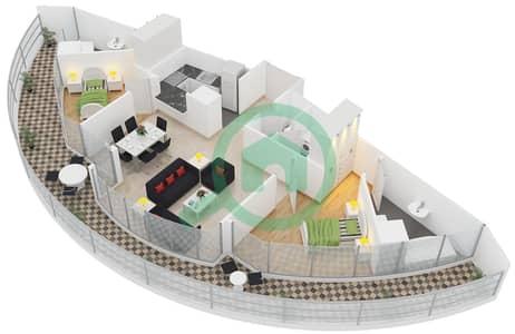 المخططات الطابقية لتصميم النموذج B شقة 2 غرفة نوم - ليك تراس