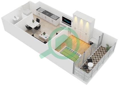المخططات الطابقية لتصميم النموذج C شقة 1 غرفة نوم - ليك تراس