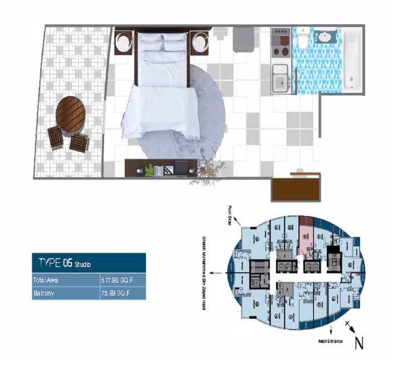 2 Floor Plan Studio Type 5