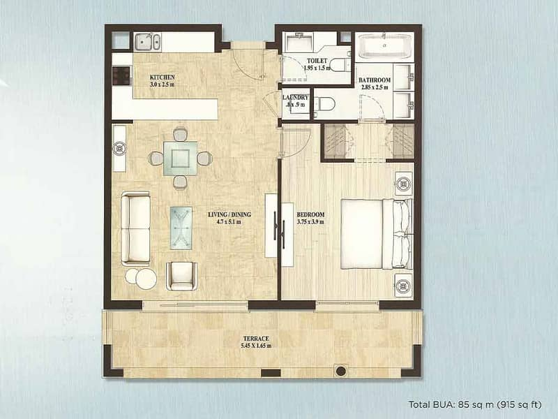 15 One Bed | Large Balcony | Plaza Facing