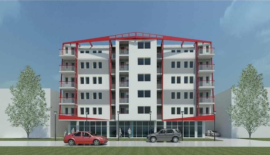 For sale a commercial building, ground floor, scale, five floors, and roof inside Abu Dhabi